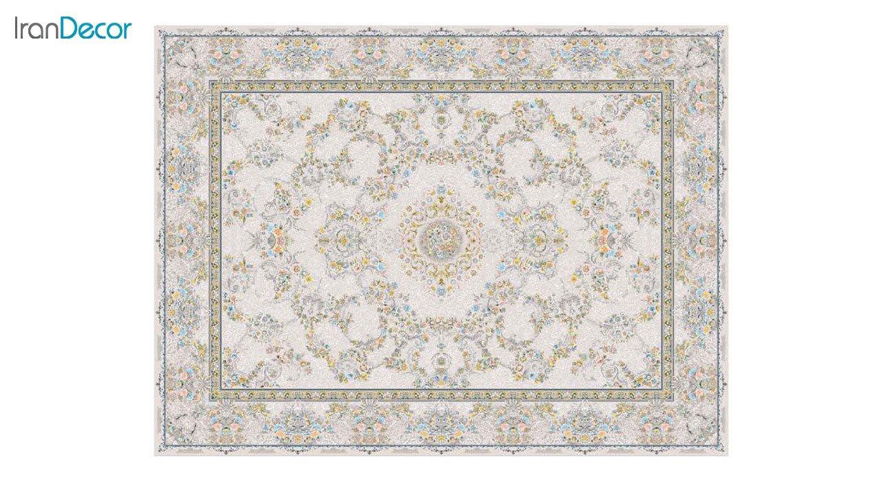 تصویر فرش ماشینی 1200 شانه گل برجسته کشمیر طرح ریحانه بژ