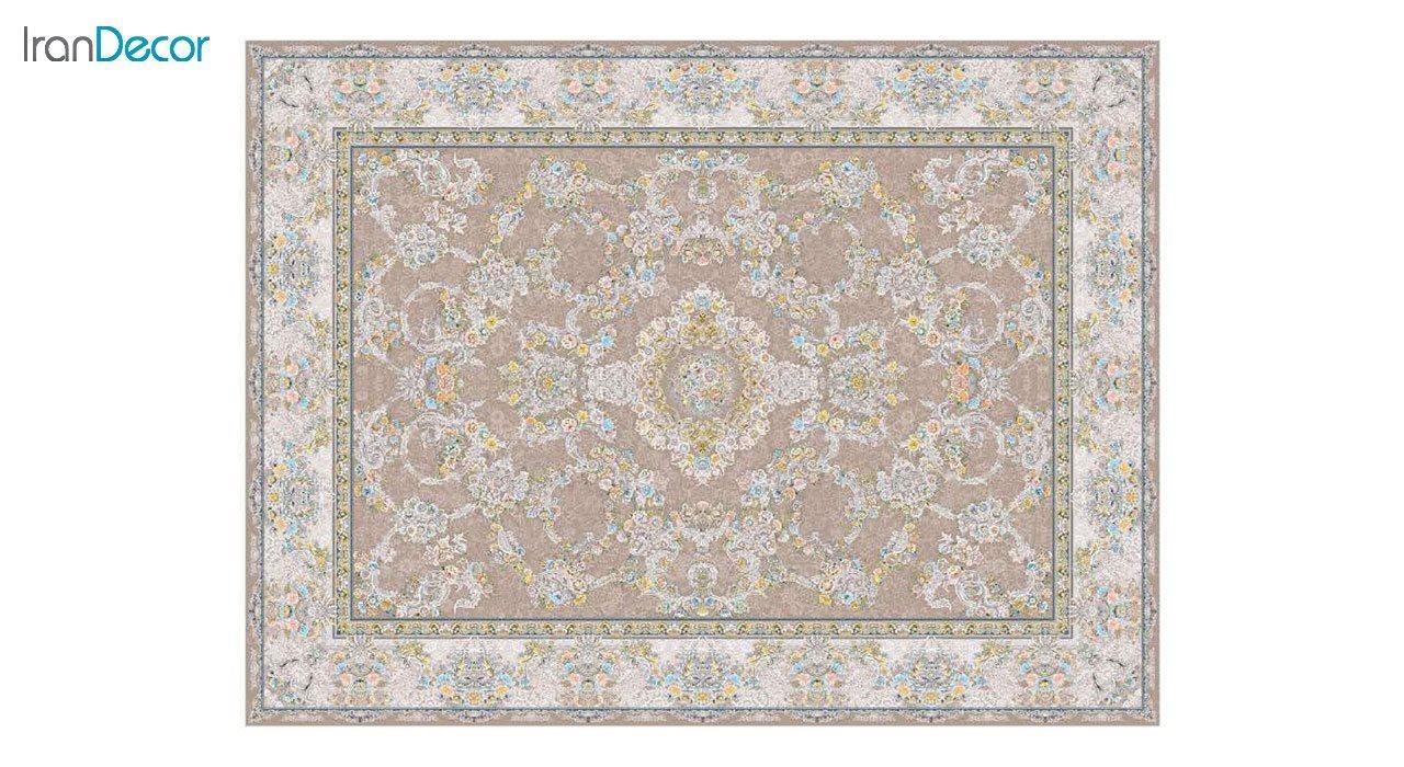 تصویر فرش ماشینی 1200 شانه گل برجسته کشمیر طرح ریحانه نسکافه ای