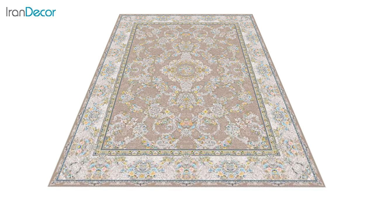 عکس فرش ماشینی 1200 شانه گل برجسته کشمیر طرح ریحانه نسکافه ای