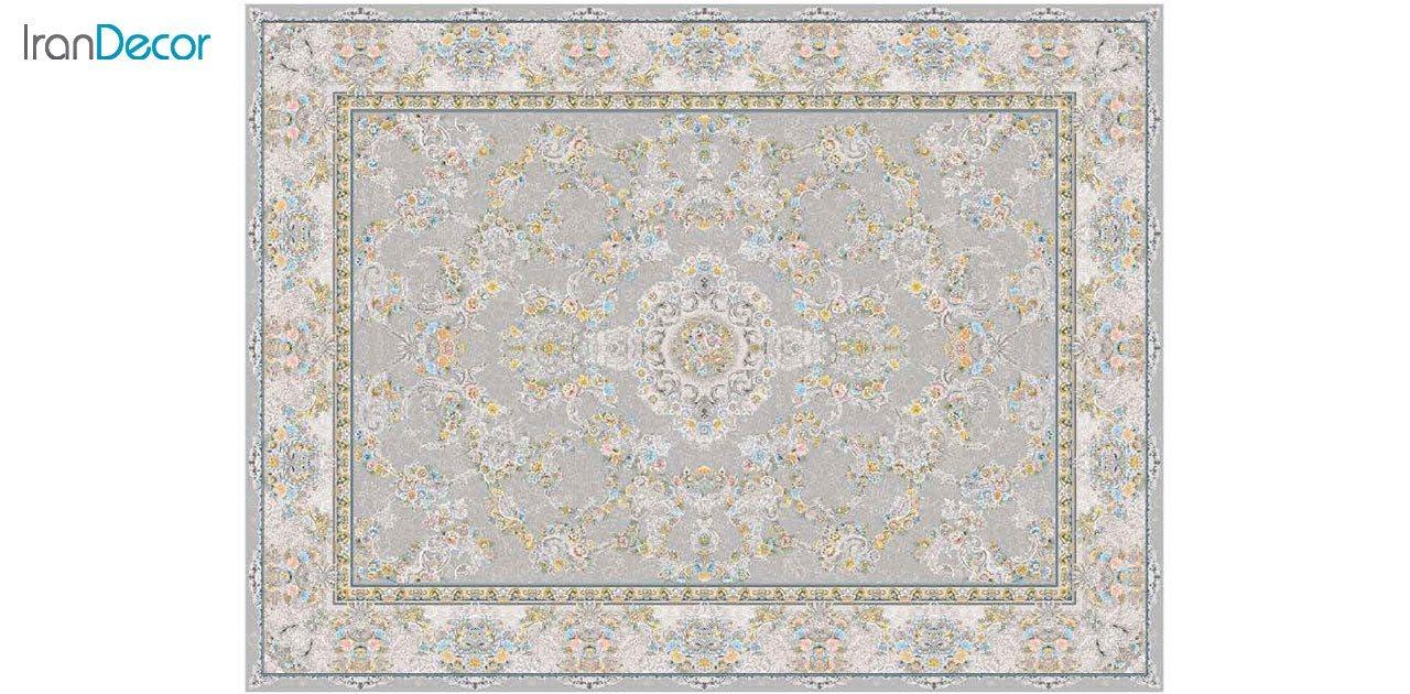 تصویر فرش ماشینی 1200 شانه گل برجسته کشمیر طرح ریحانه نقره ای