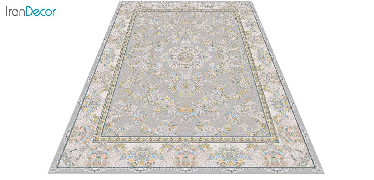 عکس فرش ماشینی 1200 شانه گل برجسته کشمیر طرح ریحانه نقره ای