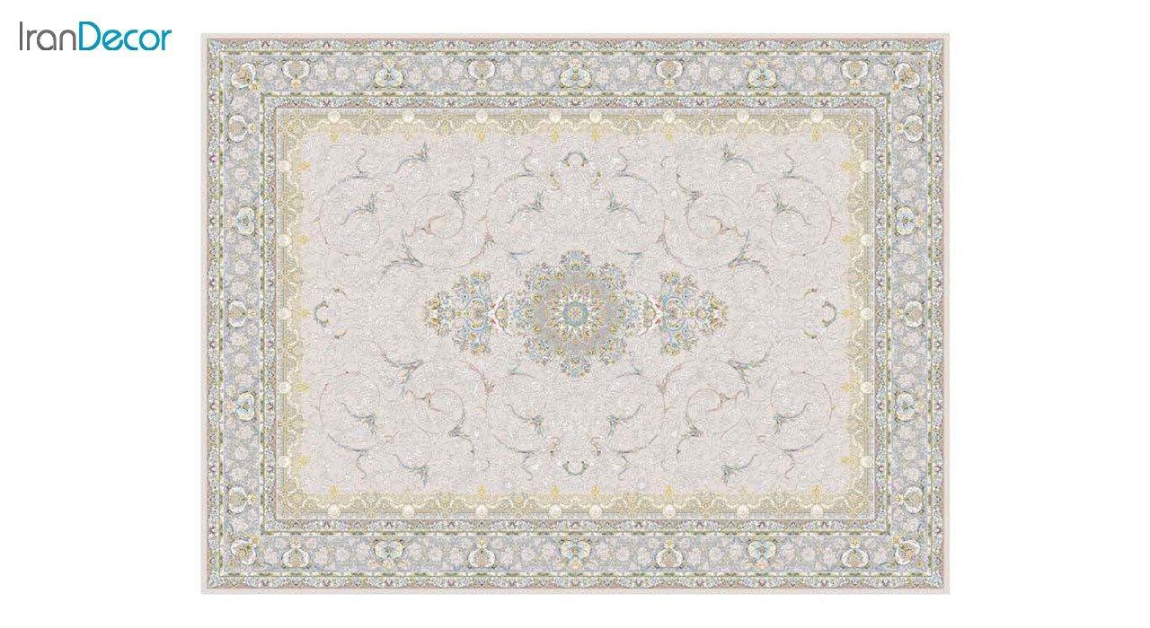 تصویر فرش ماشینی 1200 شانه گل برجسته کشمیر طرح رستاک بژ