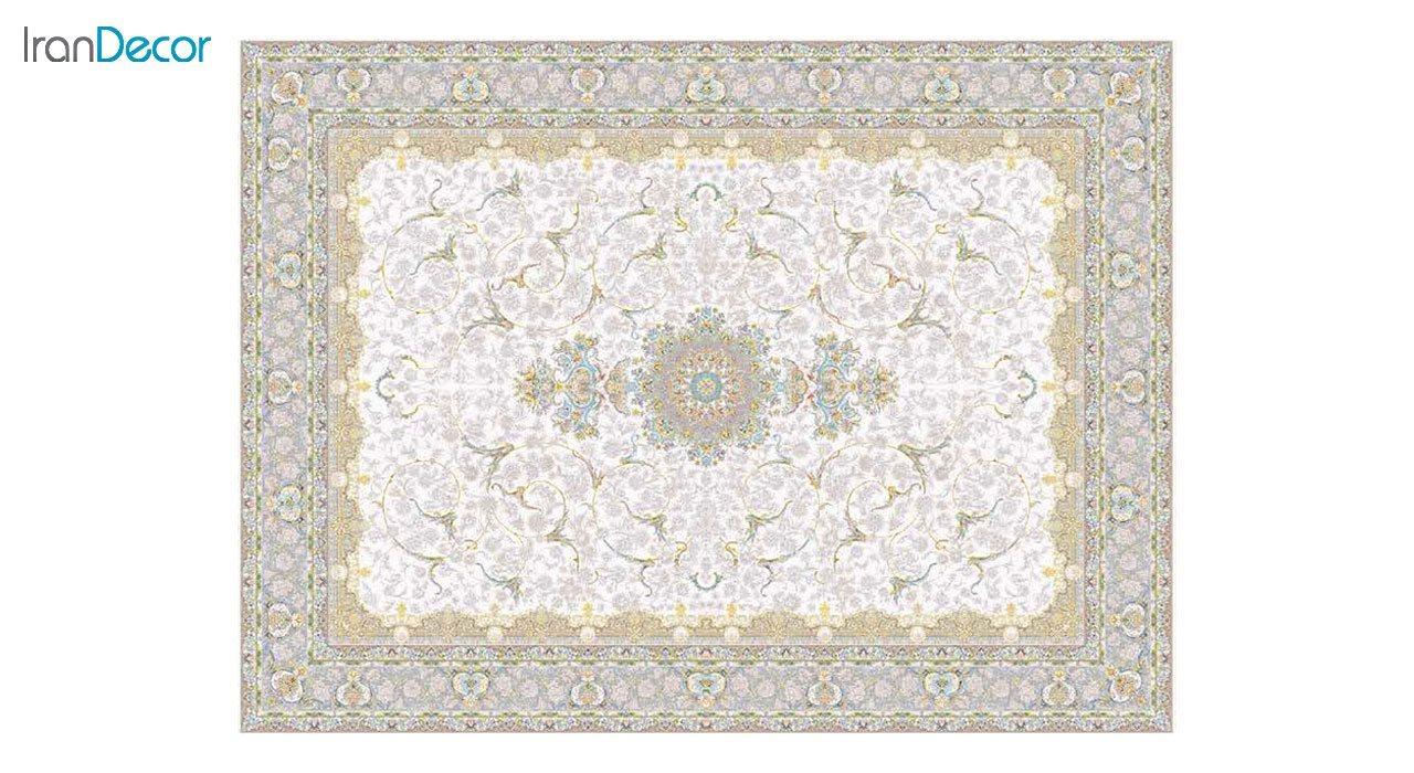 تصویر فرش ماشینی 1200 شانه گل برجسته کشمیر طرح رستاک کرم