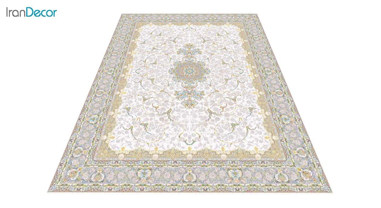 عکس فرش ماشینی 1200 شانه گل برجسته کشمیر طرح رستاک کرم
