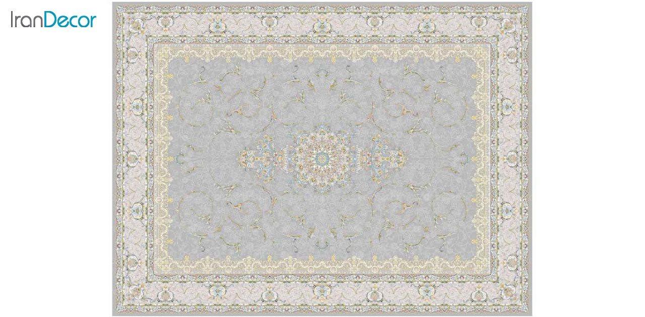 تصویر فرش ماشینی 1200 شانه گل برجسته کشمیر طرح رستاک نقره ای