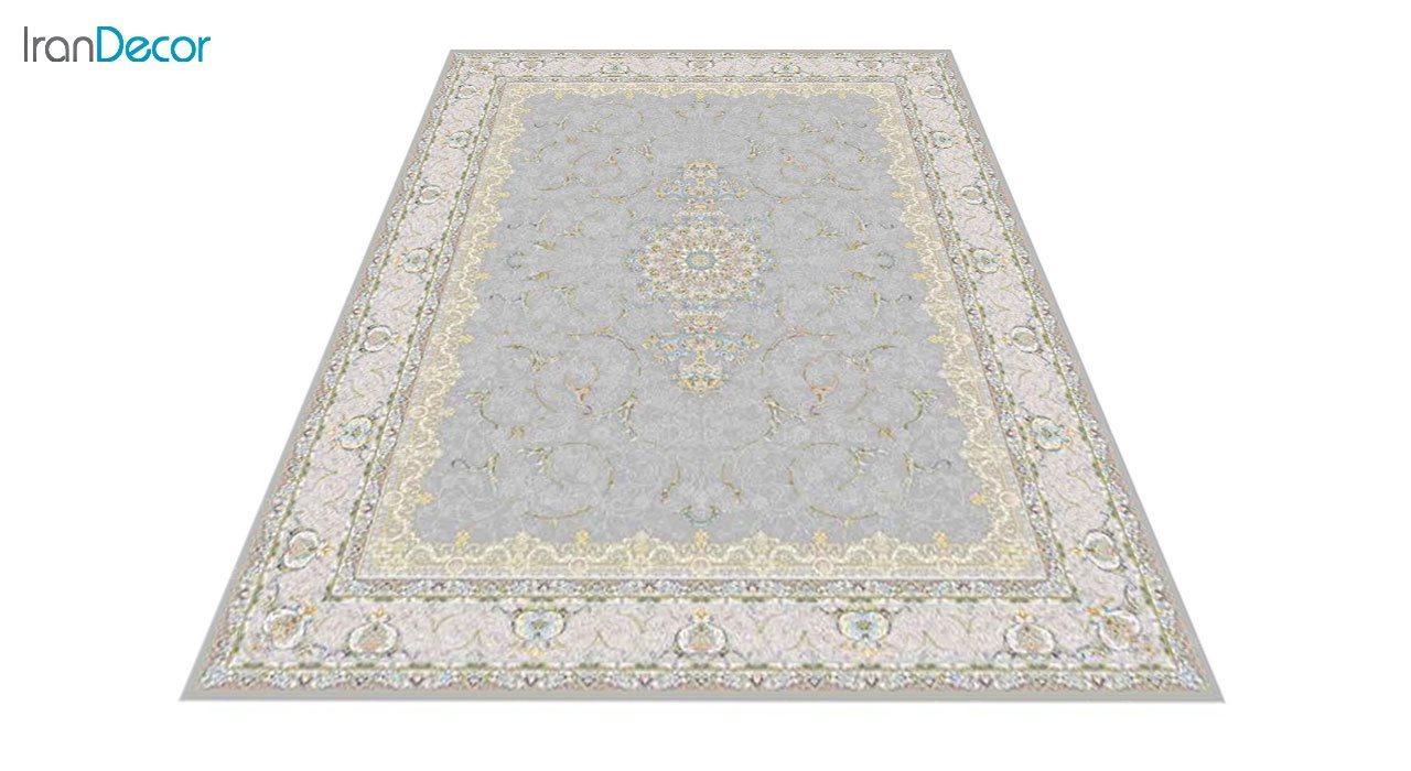 عکس فرش ماشینی 1200 شانه گل برجسته کشمیر طرح رستاک نقره ای