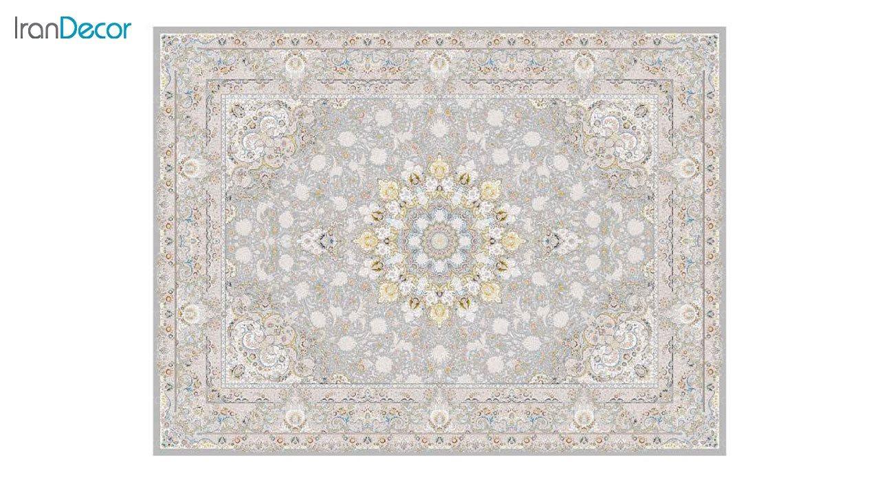تصویر فرش ماشینی 1200 شانه گل برجسته کشمیر طرح تبریزان نقره ای