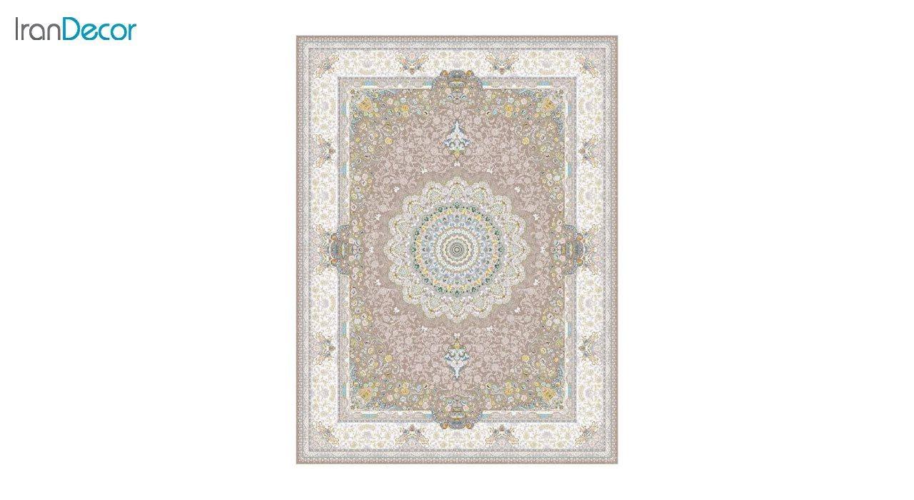تصویر فرش ماشینی 1200 شانه گل برجسته کشمیر طرح سوگل نسکافه ای