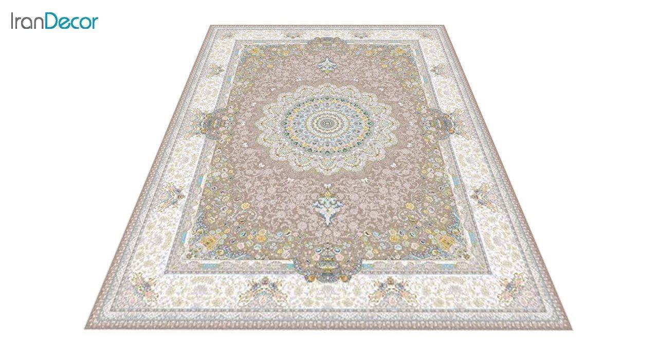 عکس فرش ماشینی 1200 شانه گل برجسته کشمیر طرح سوگل نسکافه ای