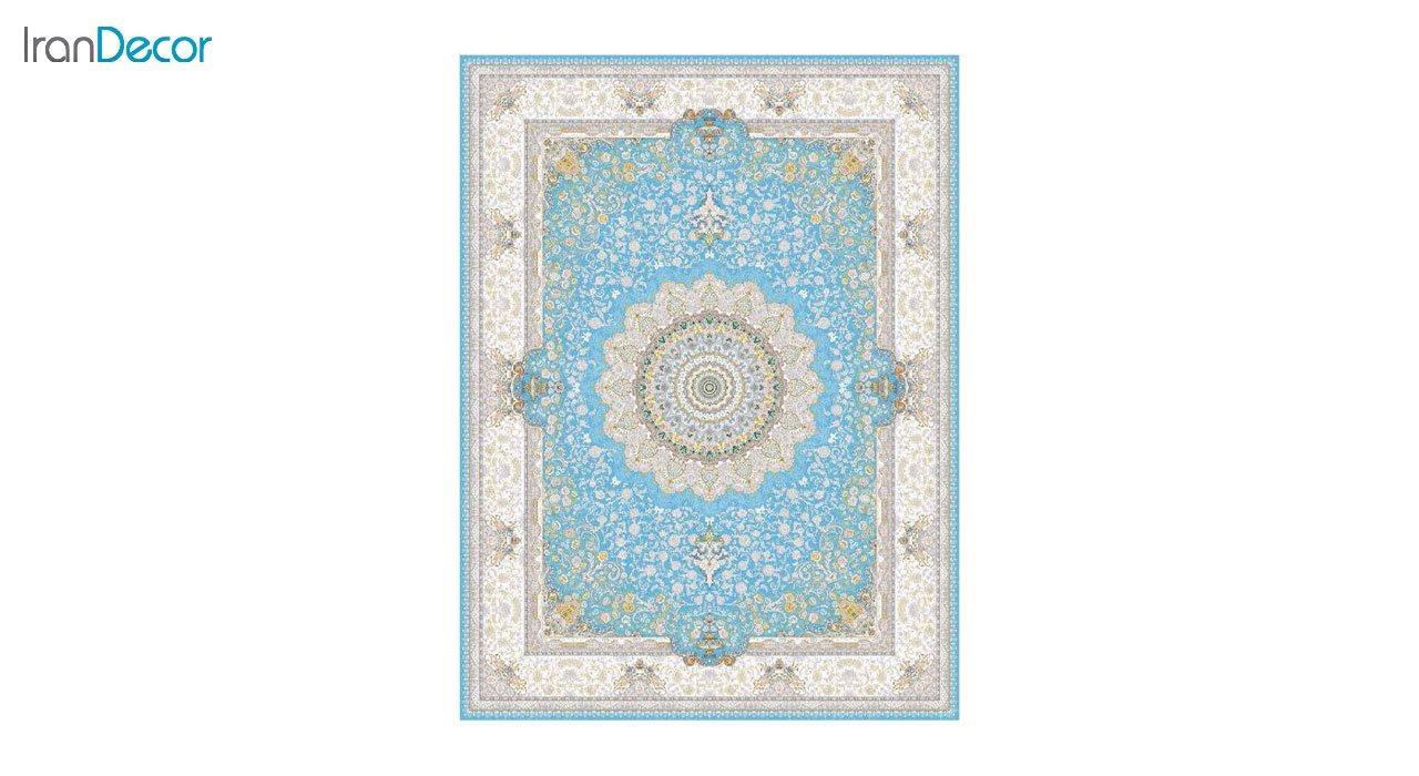 تصویر فرش ماشینی 1200 شانه گل برجسته کشمیر طرح سوگل آبی