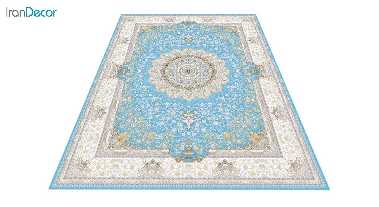 عکس فرش ماشینی 1200 شانه گل برجسته کشمیر طرح سوگل آبی