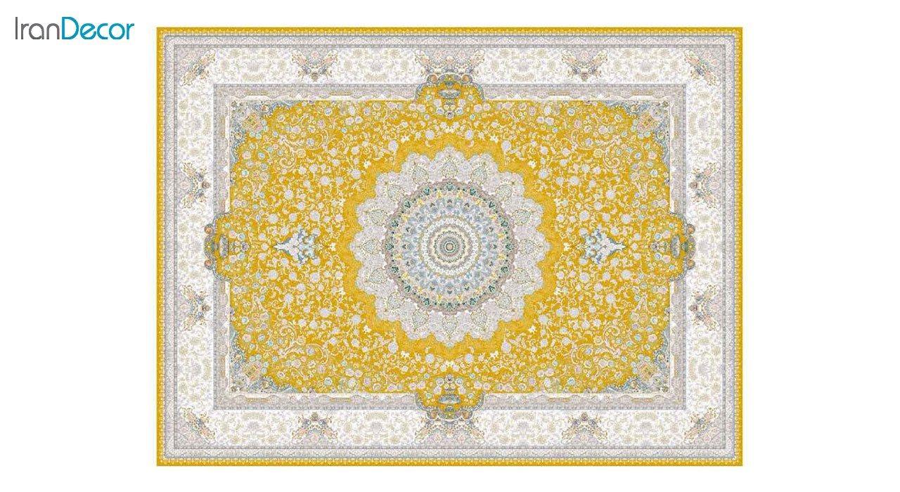 تصویر فرش ماشینی 1200 شانه گل برجسته کشمیر طرح سوگل طلایی