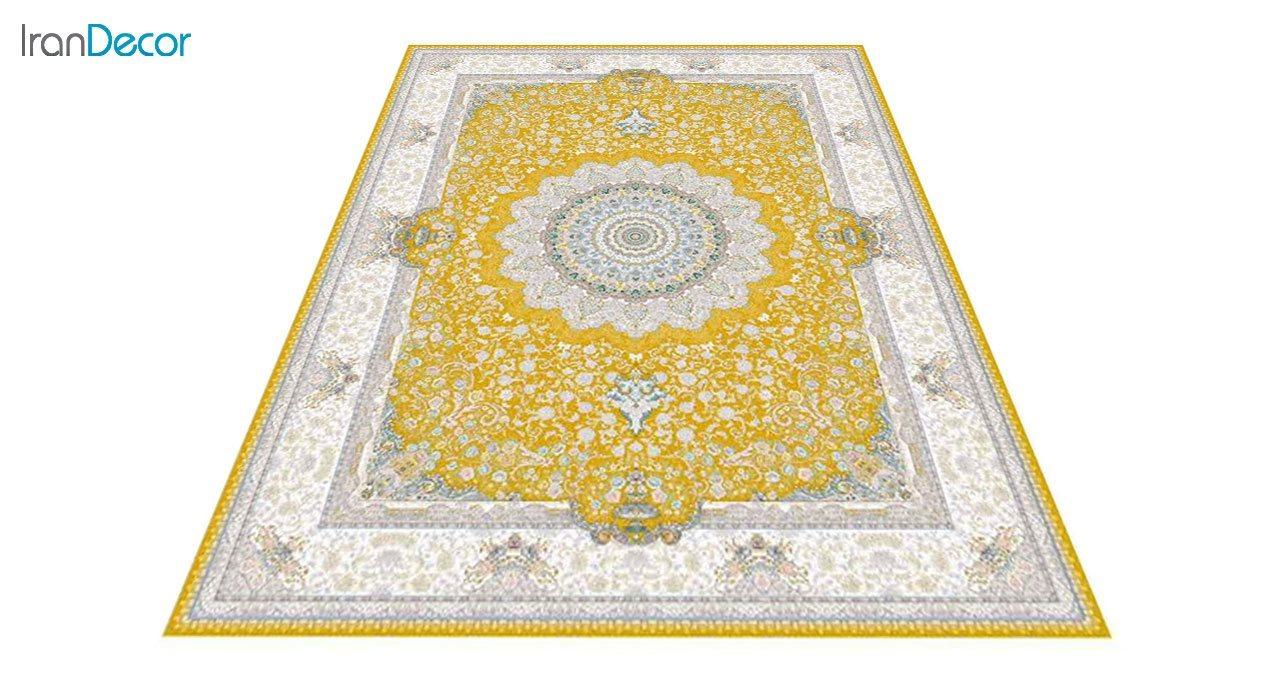 عکس فرش ماشینی 1200 شانه گل برجسته کشمیر طرح سوگل طلایی
