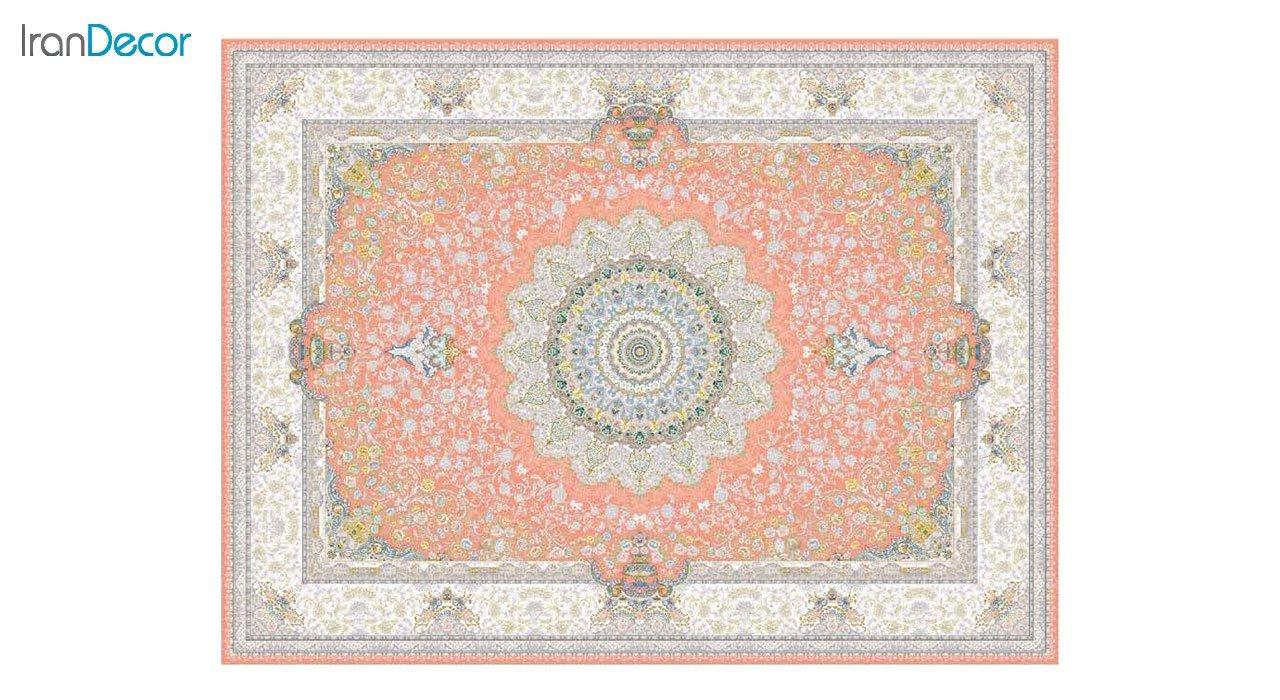 تصویر فرش ماشینی 1200 شانه گل برجسته کشمیر طرح سوگل صورتی