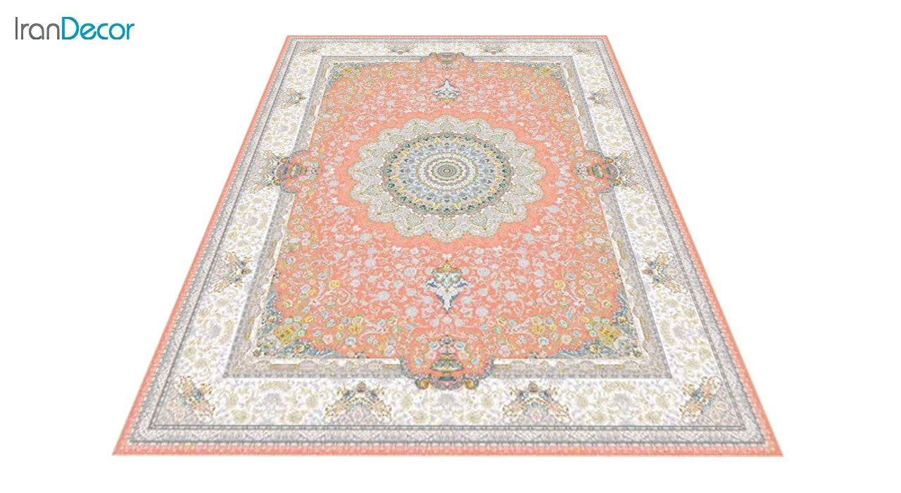 عکس فرش ماشینی 1200 شانه گل برجسته کشمیر طرح سوگل صورتی