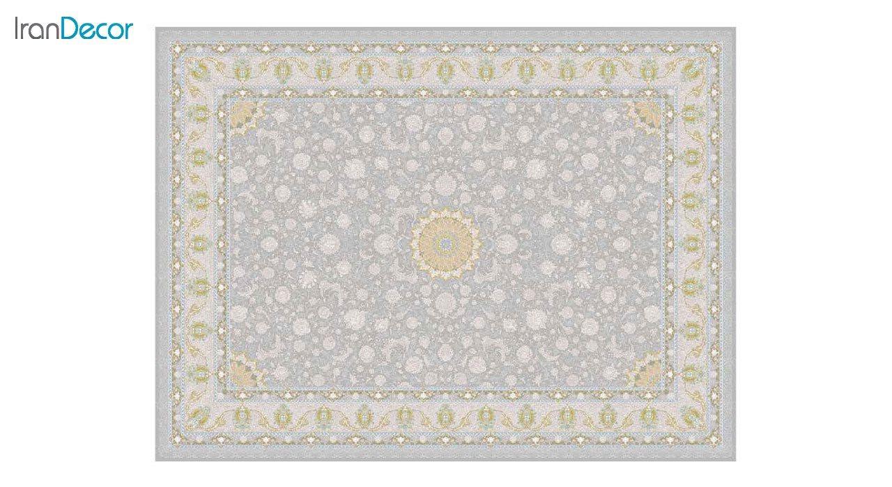 تصویر فرش ماشینی 1200 شانه گل برجسته کشمیر طرح آیلار نقره ای