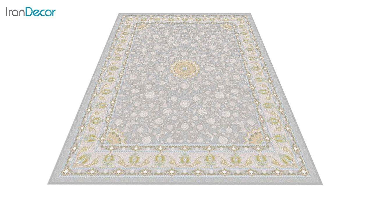 عکس فرش ماشینی 1200 شانه گل برجسته کشمیر طرح آیلار نقره ای