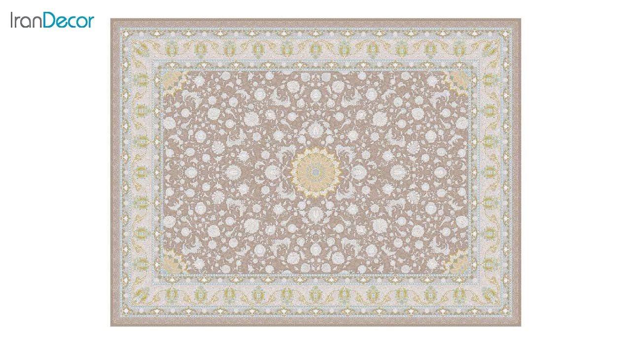 تصویر فرش ماشینی 1200 شانه گل برجسته کشمیر طرح آیلار نسکافه ای