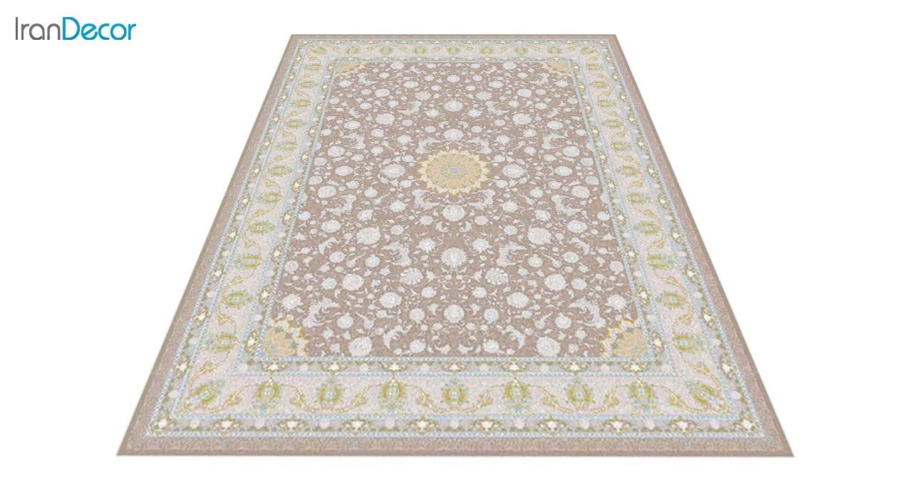 عکس فرش ماشینی 1200 شانه گل برجسته کشمیر طرح آیلار نسکافه ای