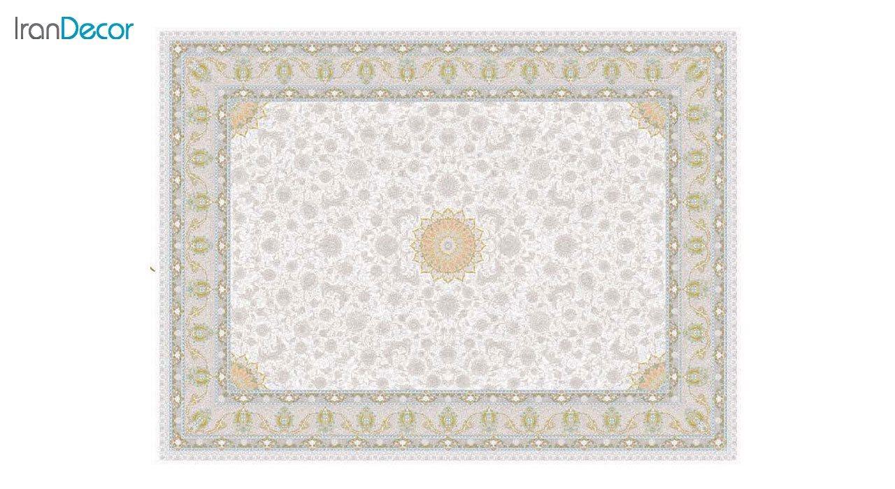 تصویر فرش ماشینی 1200 شانه گل برجسته کشمیر طرح آیلار کرم