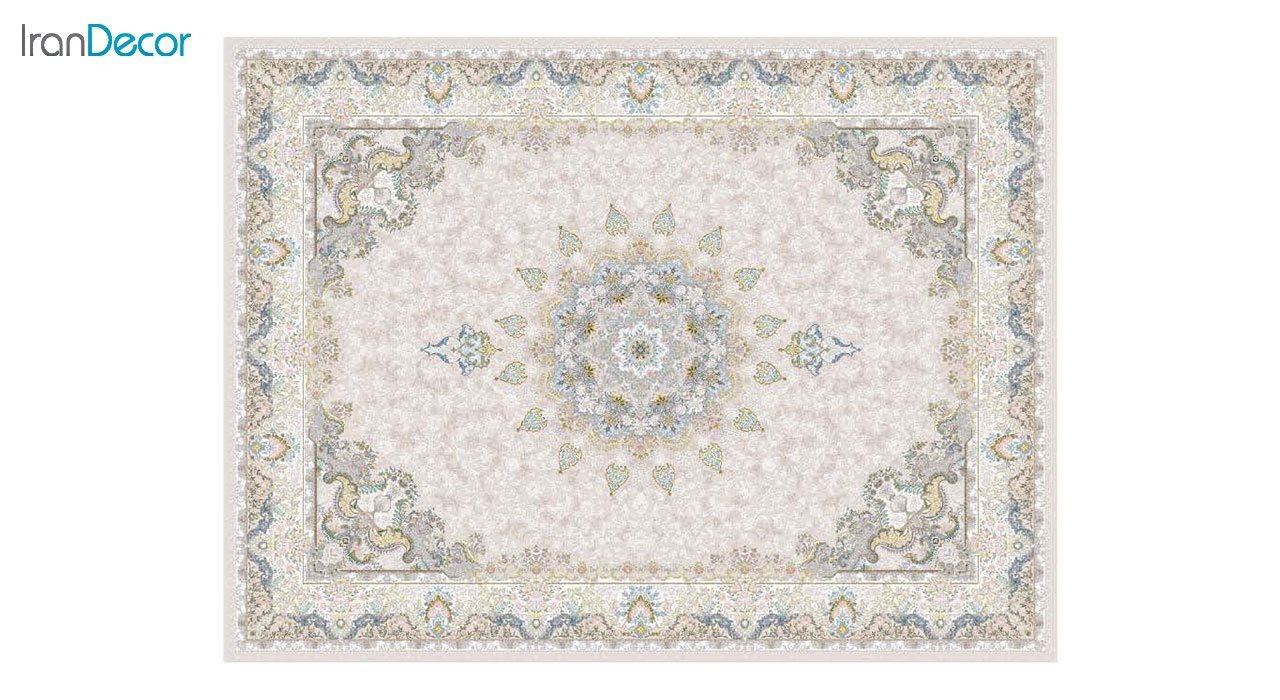 تصویر فرش ماشینی 1200 شانه گل برجسته کشمیر طرح هنگامه بژ