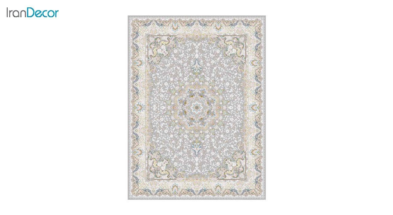 تصویر فرش ماشینی 1200 شانه گل برجسته کشمیر طرح هنگامه نقره ای