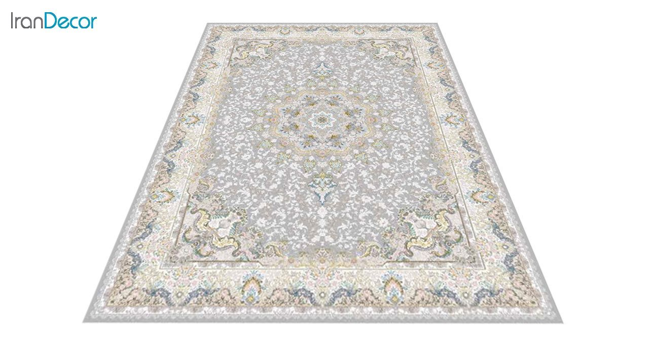 عکس فرش ماشینی 1200 شانه گل برجسته کشمیر طرح هنگامه نقره ای