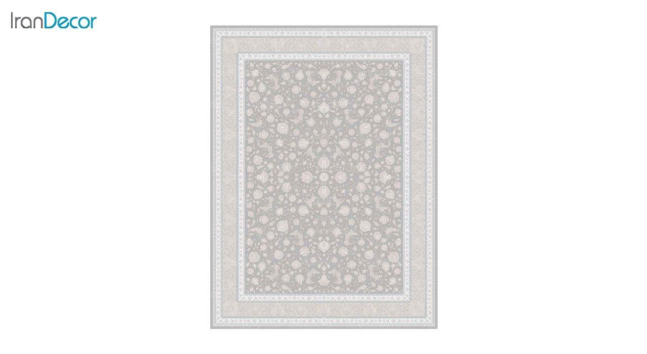 تصویر فرش ماشینی 1200 شانه گل برجسته کشمیر طرح امپراطور نقره ای