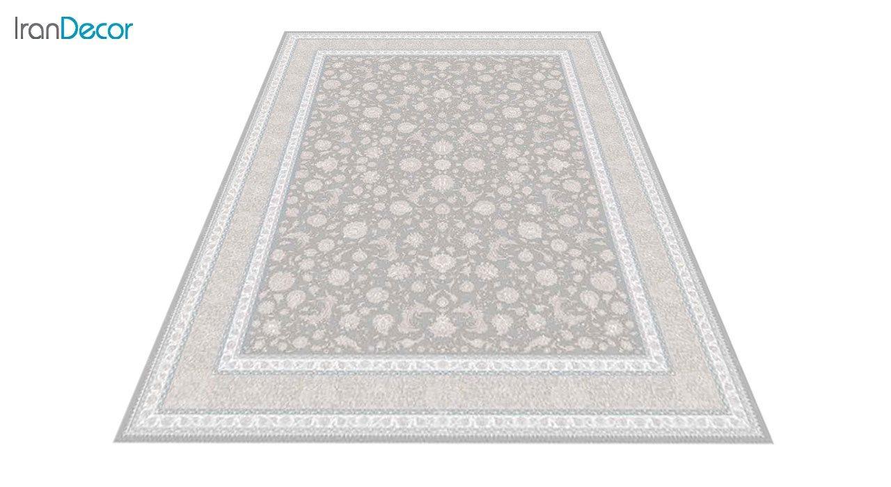 عکس فرش ماشینی 1200 شانه گل برجسته کشمیر طرح امپراطور نقره ای