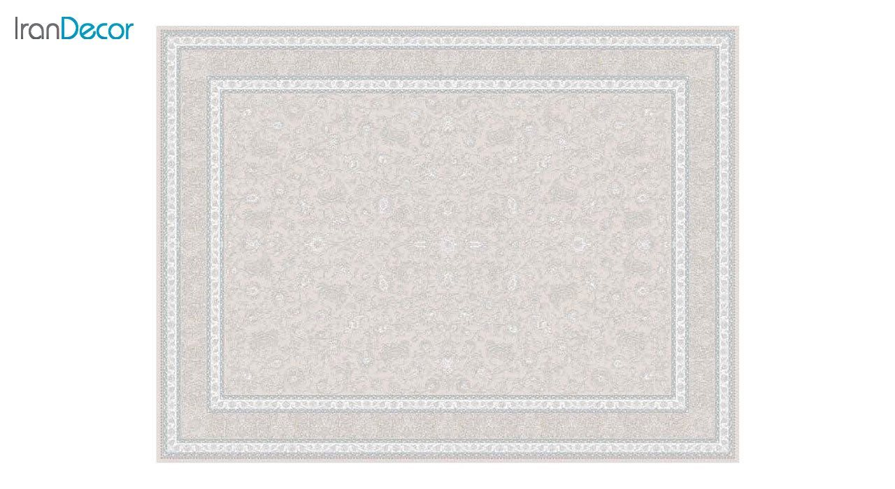 تصویر فرش ماشینی 1200 شانه گل برجسته کشمیر طرح امپراطور بژ