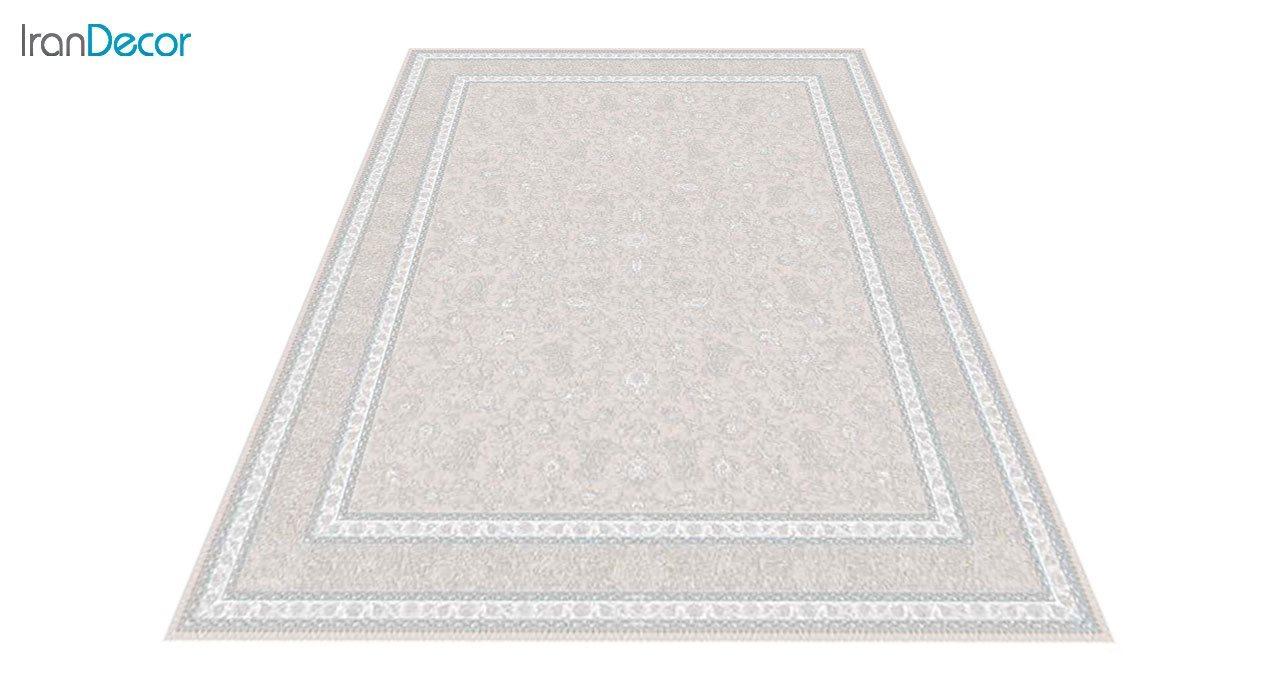 عکس فرش ماشینی 1200 شانه گل برجسته کشمیر طرح امپراطور بژ