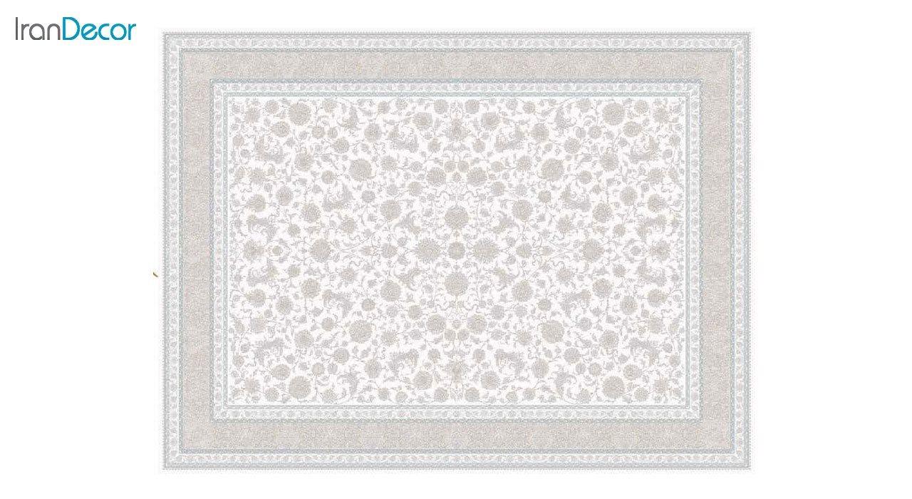 تصویر فرش ماشینی 1200 شانه گل برجسته کشمیر طرح امپراطور کرم