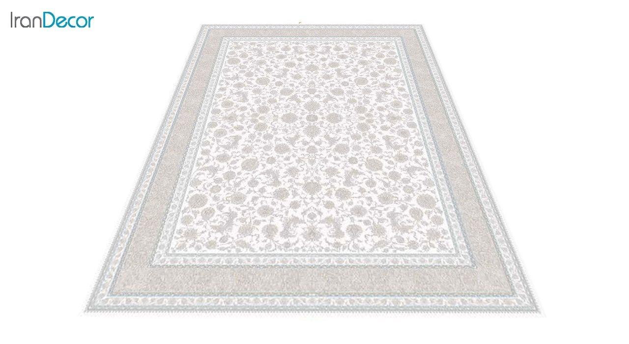 عکس فرش ماشینی 1200 شانه گل برجسته کشمیر طرح امپراطور کرم
