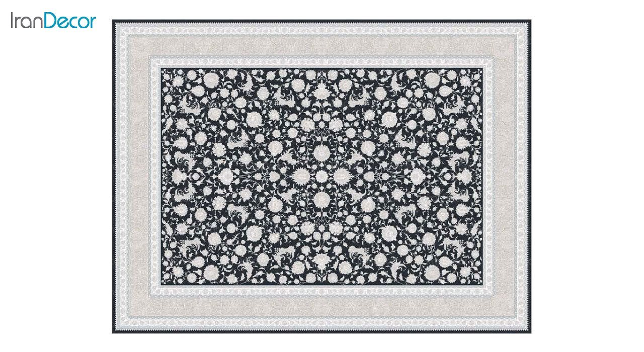 تصویر فرش ماشینی 1200 شانه گل برجسته کشمیر طرح امپراطور زغالی