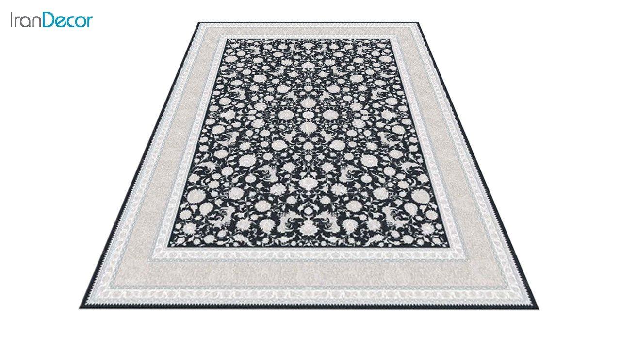 عکس فرش ماشینی 1200 شانه گل برجسته کشمیر طرح امپراطور زغالی
