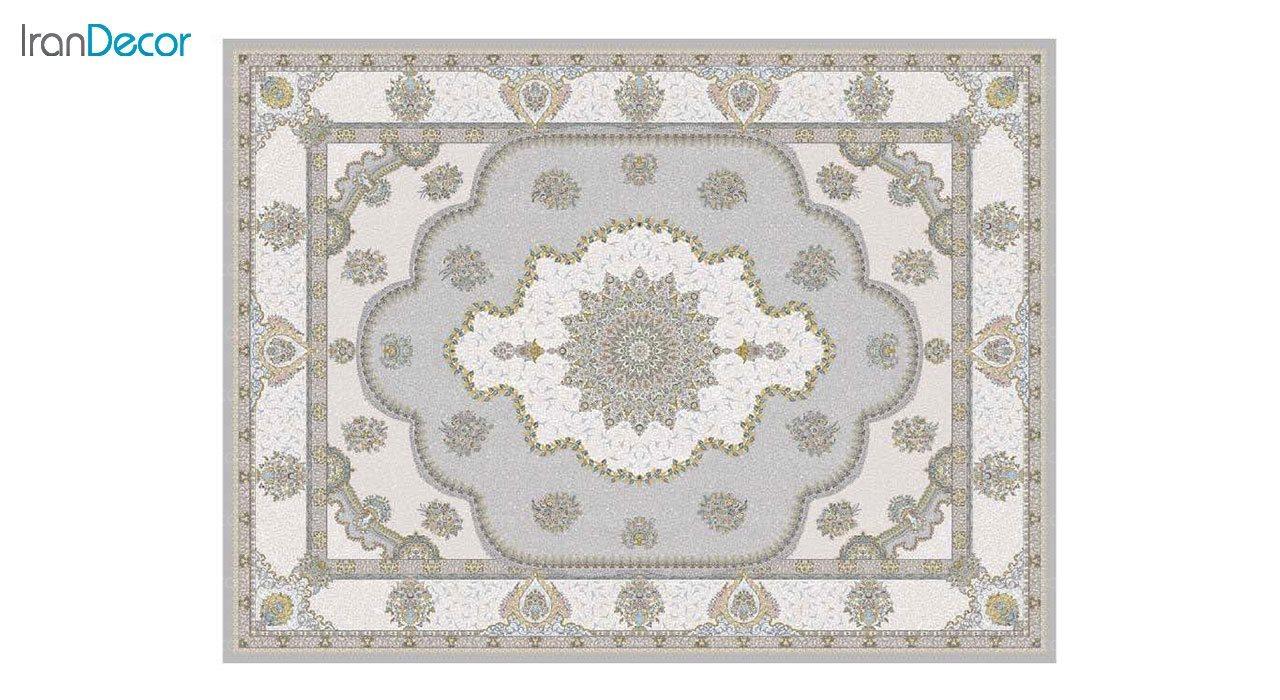 تصویر فرش ماشینی 1200 شانه گل برجسته کشمیر طرح پرسینه نقره ای