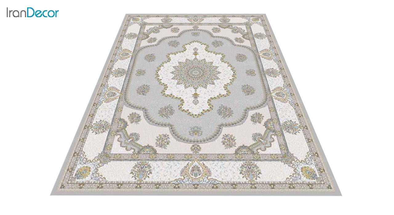 عکس فرش ماشینی 1200 شانه گل برجسته کشمیر طرح پرسینه نقره ای