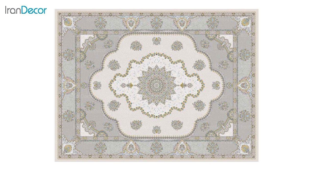 تصویر فرش ماشینی 1200 شانه گل برجسته کشمیر طرح پرسینه بژ