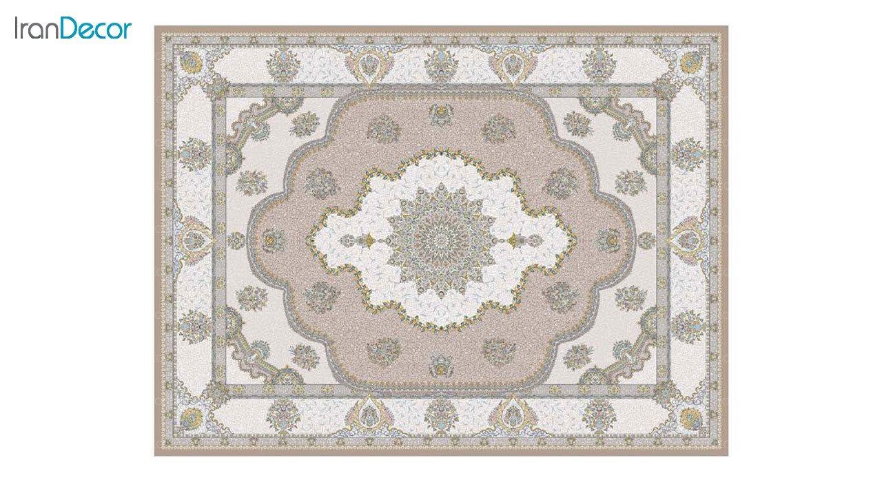 تصویر فرش ماشینی 1200 شانه گل برجسته کشمیر طرح پرسینه نسکافه ای