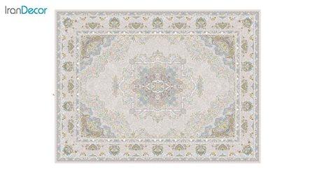تصویر فرش ماشینی 1200 شانه گل برجسته کشمیر طرح آرامش بژ