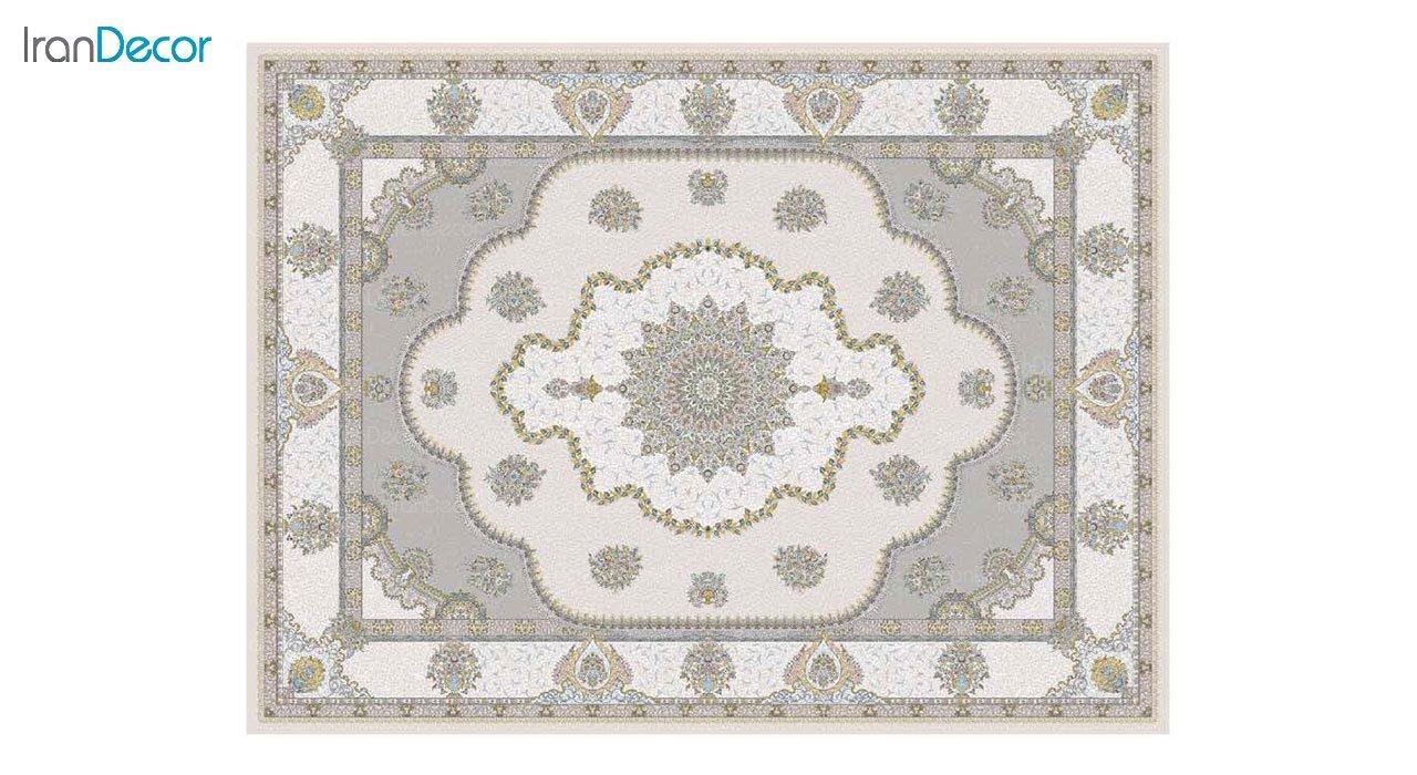 تصویر فرش ماشینی 1200 شانه گل برجسته کشمیر طرح پرسینه کرم بژ
