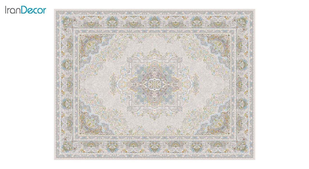 تصویر فرش ماشینی 1200 شانه گل برجسته کشمیر طرح آرامش زمینه بژ