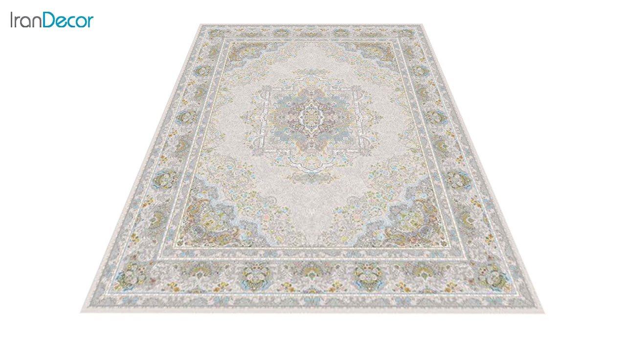 عکس فرش ماشینی 1200 شانه گل برجسته کشمیر طرح آرامش زمینه بژ
