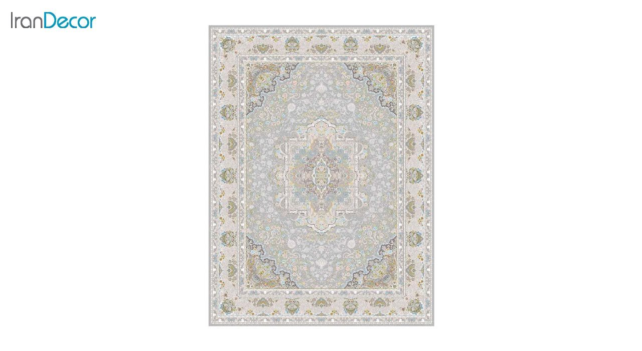 تصویر فرش ماشینی 1200 شانه گل برجسته کشمیر طرح آرامش نقره ای