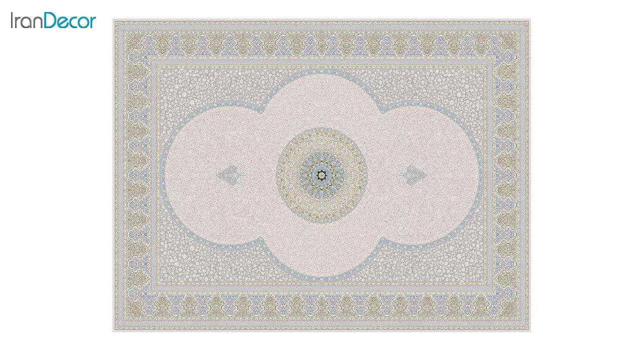 تصویر فرش ماشینی 1200 شانه گل برجسته کشمیر طرح الماس زمینه بژ