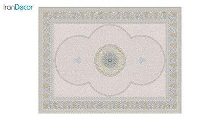 تصویر فرش ماشینی 1200 شانه گل برجسته کشمیر طرح الماس بژ