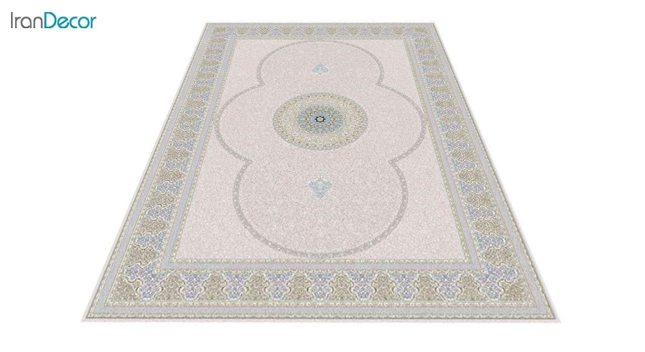 عکس فرش ماشینی 1200 شانه گل برجسته کشمیر طرح الماس بژ