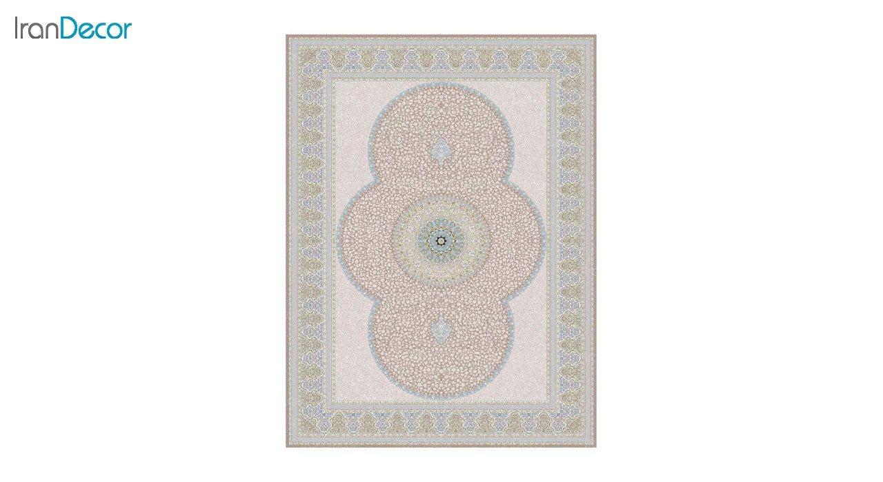 تصویر فرش ماشینی 1200 شانه گل برجسته کشمیر طرح الماس نسکافه ای