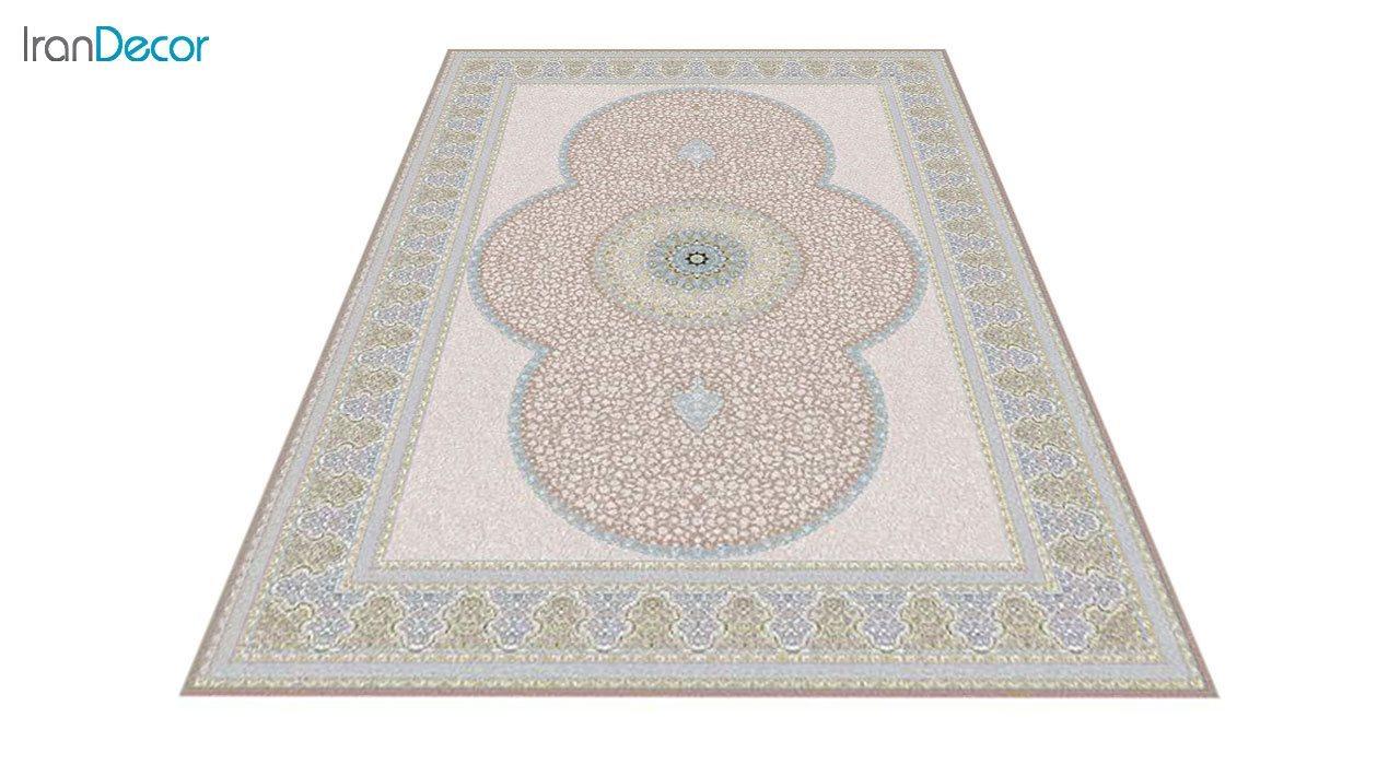 عکاس فرش ماشینی 1200 شانه گل برجسته کشمیر طرح الماس نسکافه ای