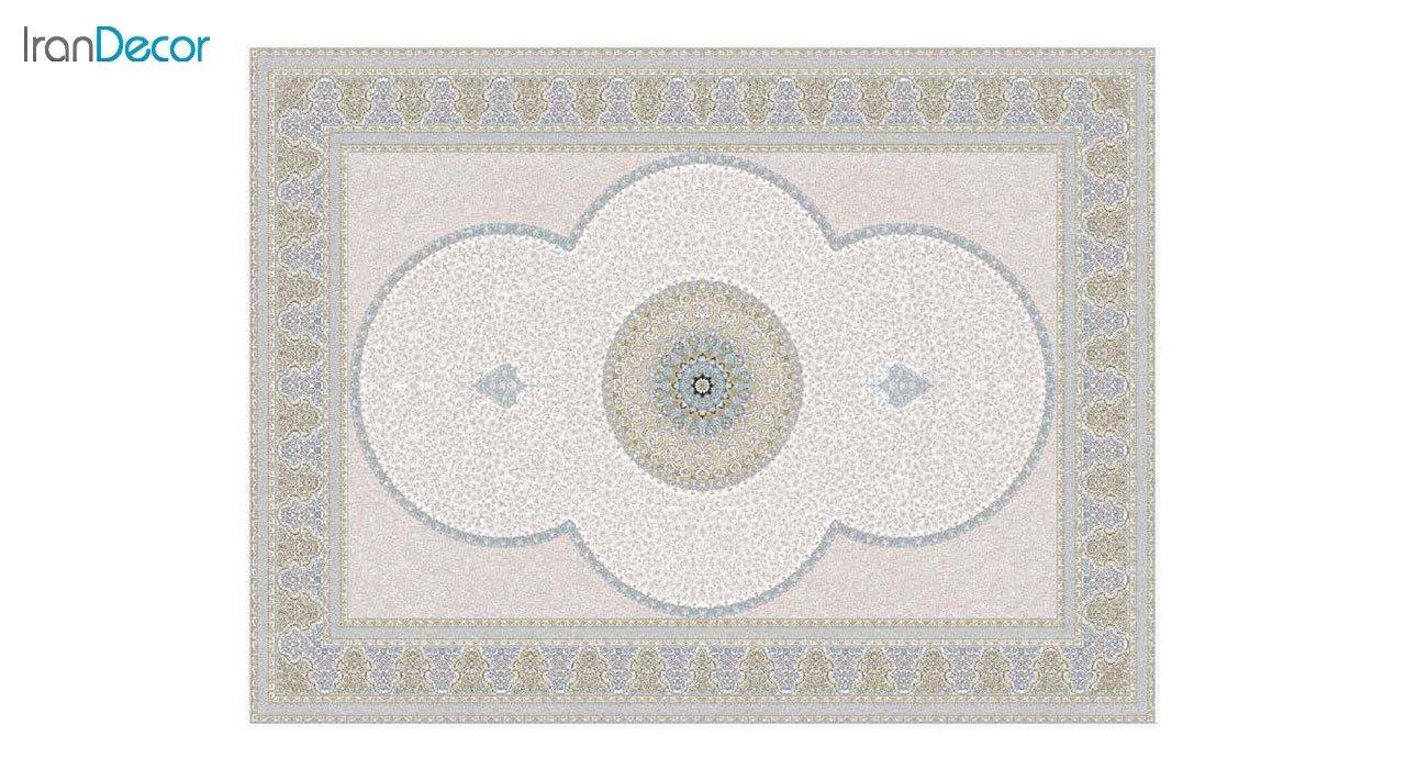 تصویر فرش ماشینی 1200 شانه گل برجسته کشمیر طرح الماس کرم